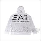 EMPORIO ARMANI 大EA7黑字LOGO字母純棉男士連帽T恤(L/XL/白)