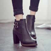 Dingle丁果大尺碼ღ時尚扣帶顯瘦高跟短靴*2色