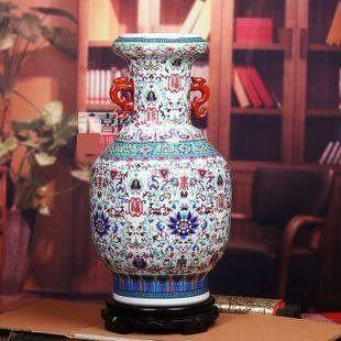 顏色釉白色太陽花賞瓶雙耳大花瓶家居