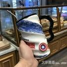 創意陶瓷杯個性潮流大容量馬克咖啡杯帶蓋勺男女家用早餐喝水杯子 艾莎