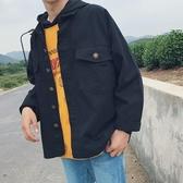 現貨-襯衫外套 秋季夾克男休閒牛仔韓版寬鬆bf工裝外套青年學生水洗帥 6-1