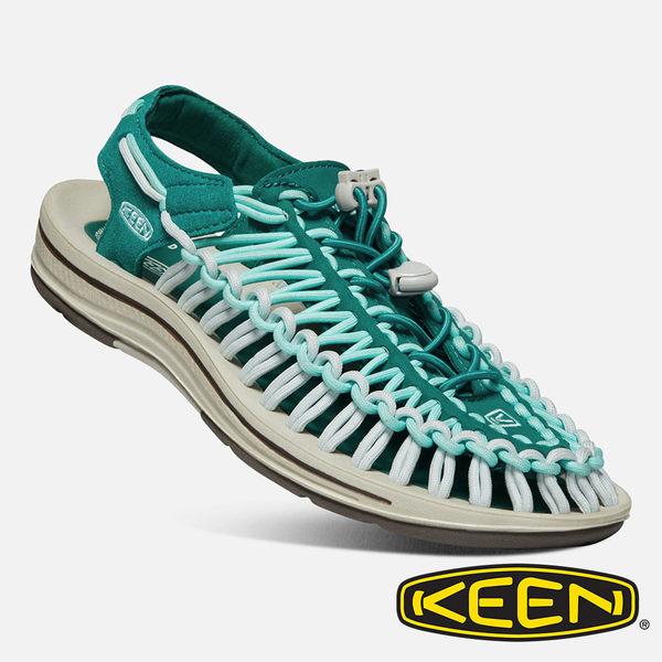 【Keen】女 UNEEK 拉繩涼鞋『綠/湖水綠』1020788 繩編鞋.水陸兩用鞋.運動健走鞋.沙灘戲水鞋.透氣.快乾