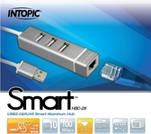 新竹【超人3C】INTOPIC USB2.0&RJ45鋁合金集線器 HBC-28 附有Type-C轉接線