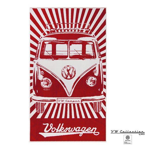 VW Brisa老福斯-T1 Bus 純棉沙灘巾-森巴條紋/紅