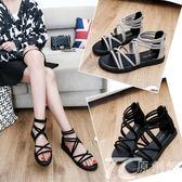 夏季涼鞋女百搭羅馬潮流夏天鞋子女生平跟新款休閑鞋平底學生涼鞋
