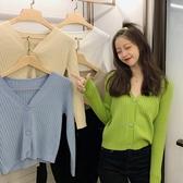 針織外套 初秋新款韓版短款開衫寬鬆V領上衣網紅長袖毛衣女 - 歐美韓熱銷