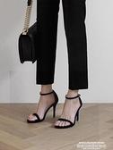 高跟涼鞋 性感一字扣帶涼鞋2021新款夏季百搭高跟鞋細跟黑色時裝女鞋仙女風 新品