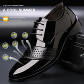 男士商務正裝休閒鞋韓版尖頭黑色內增高鏤空皮鞋男鞋青年涼鞋 黛尼時尚精品
