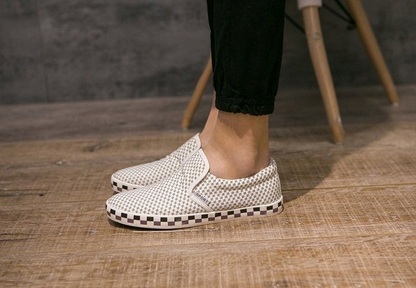 【找到自己】韓國 千鳥格 格子 鞋 懶人 低筒 豆豆 工作 服飾 穿搭 簡約 英倫 squad zet 白鞋