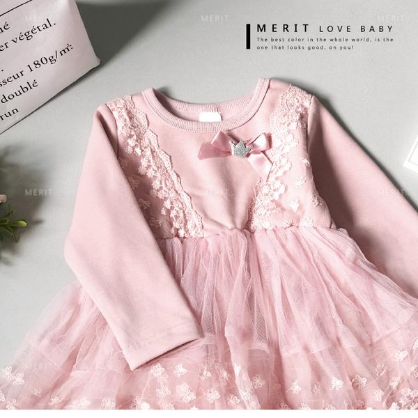 浪漫花朵蕾絲澎澎紗裙洋裝 內刷毛 保暖 不倒絨 粉色 公主 女童 蕾絲洋裝 長袖 紗裙 歐風