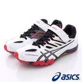 【ASICS】運動童鞋-雙色流線透氣運動款-664Y-0190黑白(中大童)