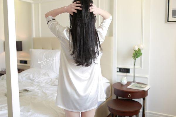韓國性感女士襯衫絲滑睡裙春夏秋季新款模擬絲府緞絲綢睡衣-11190020