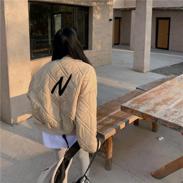 羽絨棉服 棒球服羽絨棉衣外套女秋冬2021新款格子輕薄棉服寬鬆韓版夾克上衣 歐歐