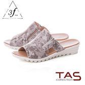 TAS 絢麗花紋側鏤空拉鍊涼拖鞋-水墨黑