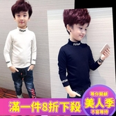 男童衣服秋裝男童長袖t恤童裝男孩加絨半高領打底衫冬中大童兒童內-『美人季』