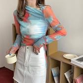 網紅扎染長袖T恤女ins潮年新款夏薄款防曬寬松罩衫上衣空調衫