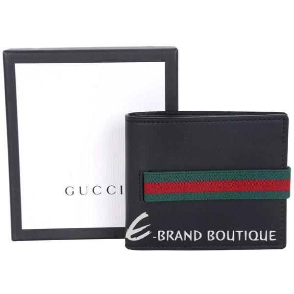 Gucci Elastic Leather 紅綠織帶對折短夾(黑色) 1620727-01