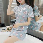 VK旗艦店 復古勾花蕾絲甜美小清新改良復古旗袍短袖洋裝