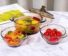 碗 雙耳玻璃碗茶色碗碟套裝麥片碗沙拉碗家用耐熱湯碗泡面碗飯碗餐具【快速出貨八折搶購】