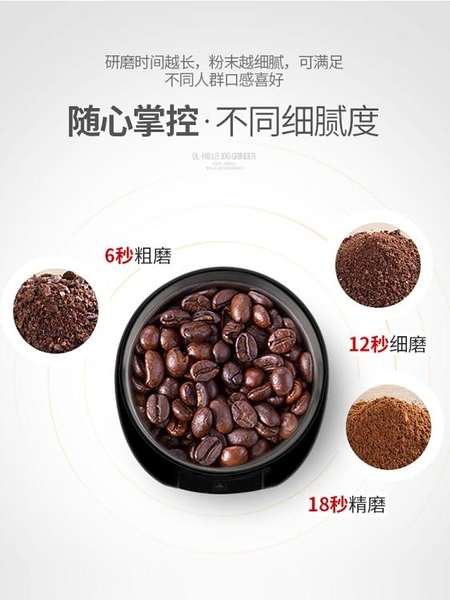 磨豆機 DL-MD18磨豆機電動咖啡豆研磨機家用小型手搖磨粉機 萬寶屋