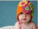 *甜蜜蜜親子童裝*韓單手工小花針織帽((B2-澄色花朵))