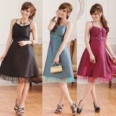 中大尺碼~優雅V領禮服短袖洋裝(XL~3XL)
