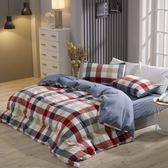 床包薄被套組 雙人 色織水洗棉 英格蘭[鴻宇]台灣製2115