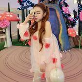 洋裝春裝新款女裝時尚甜美露背歐根紗繡花中長款公主裙娃娃裙連身裙潮