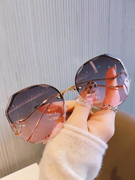 太陽鏡女2021年新款韓版潮淺色透明墨鏡女防紫外線網紅款無框眼鏡
