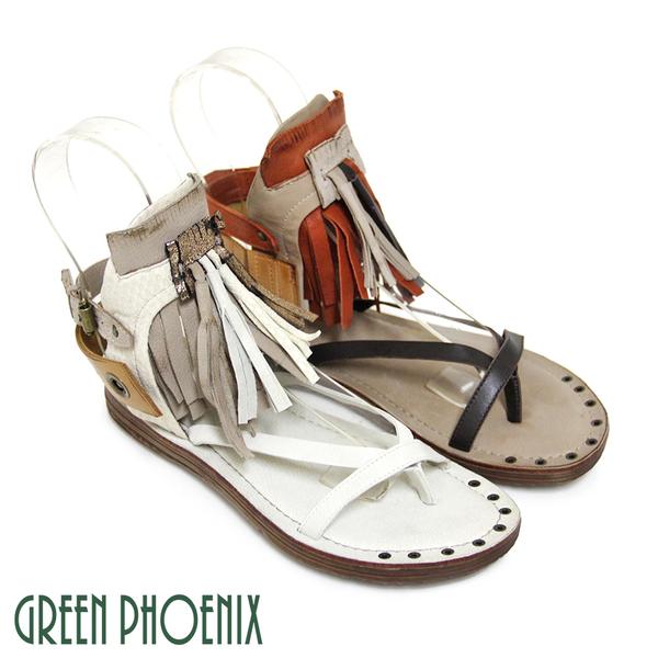 U28-22402 女款臘皮平底涼鞋 立體垂墜流蘇雙彩義大利雙色臘皮平底涼鞋【GREEN PHOENIX】BIS-VITAL