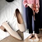 奶奶鞋女粗跟透氣豆豆鞋百搭鞋子軟皮單鞋秋鞋2021年新款中跟女鞋 618促銷