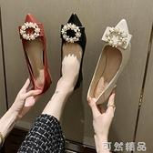 高跟鞋女年新款时尚百搭浅口尖头粗跟女鞋子珍珠仙女风女单鞋 可然精品