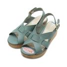 parit d abord 橫帶木跟楔型涼鞋 藍 92858 女鞋