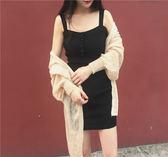 韓國Chic風復古緊身針織連體無袖連衣裙
