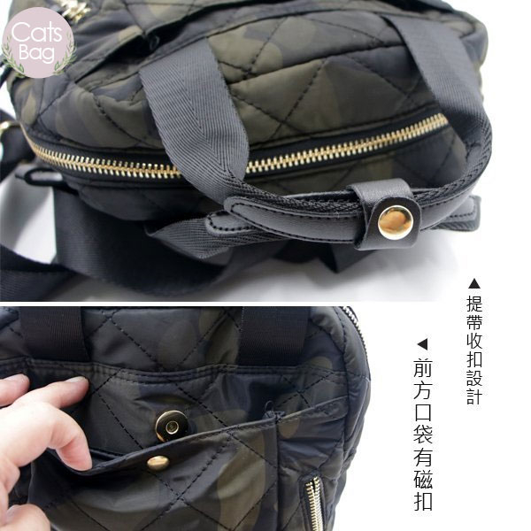Catsbag|韓系高質感多層次收納菱格車工二用後背包手提包|57177