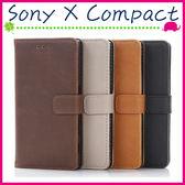Sony X Compact F5321 復古皮套 瘋馬紋手機殼 側翻商務素面保護套 支架 錢包式手機套 磁扣保護殼