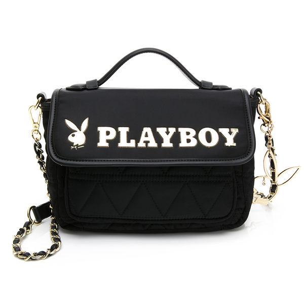 PLAYBOY-  鍊帶斜背包 金典小兔系列 -黑色