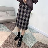 A字裙(中長裙)-復古格子高腰毛呢女裙子2色73xg24【時尚巴黎】