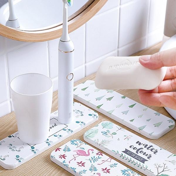 Qmishop 矽藻土珪藻土洗漱杯墊吸水墊洗手台防水墊皂托【J2449】