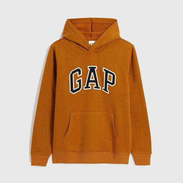 Gap男裝 Logo撞色字母連帽休閒上衣 618862-秋日橙
