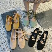 瑪麗珍鞋2020春新款百搭簡約交叉綁帶芭蕾舞淺口平底鞋單鞋仙女風瑪麗珍鞋 JUST M