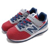 New Balance 慢跑鞋 996 NB 紅 藍 麂皮 魔鬼氈 寬楦頭 中童鞋 童鞋【PUMP306】 KV996RGW