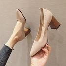 針織單鞋女2020新款粗跟中跟時尚百搭方頭毛線飛織網紅少女高跟鞋 限時下殺7折