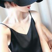V領吊帶無袖小背心女打底衫絲綢緞面內搭黑色性感外穿上衣夏