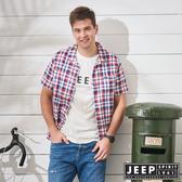 【JEEP】品牌經典格紋短袖襯衫-紅藍