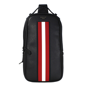 BALLY Malikho 防刮皮革紅白條紋型男拉鍊單肩後背包(黑色)