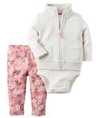 Carter's 套裝 包屁衣  灰白色背心粉紅花朵長褲3件套裝組 12M 24M
