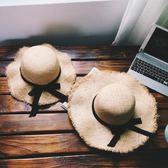 遮陽帽  韓國折疊海邊大沿防曬草帽子蝴蝶結毛邊沙灘親子