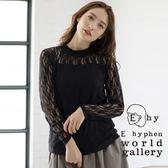 ❖ Autumn ❖ 高領古典花朵蕾絲拼接上衣- E hyphen world gallery