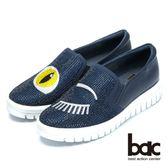 ★2018春夏新品★【bac】時尚穿搭時尚圖騰水鑽平底包鞋(藍色)